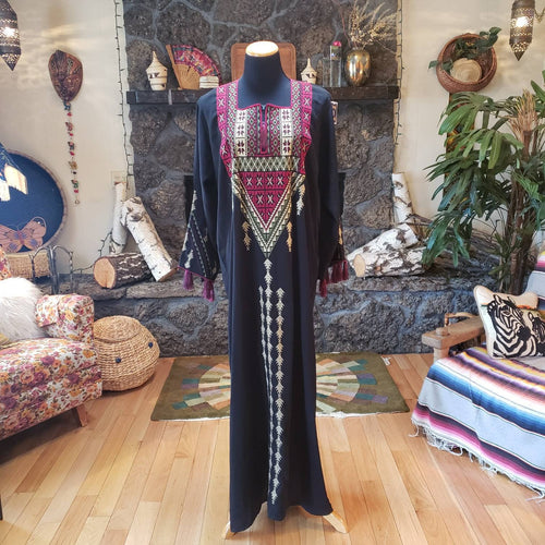 Silk Embroidered Tassel Kaftan Gown - Middle Eastern Caftan Dress - Long Tunic - Muumuu - Zipper - Black Maroon Ivory Green - Unisex M L XL