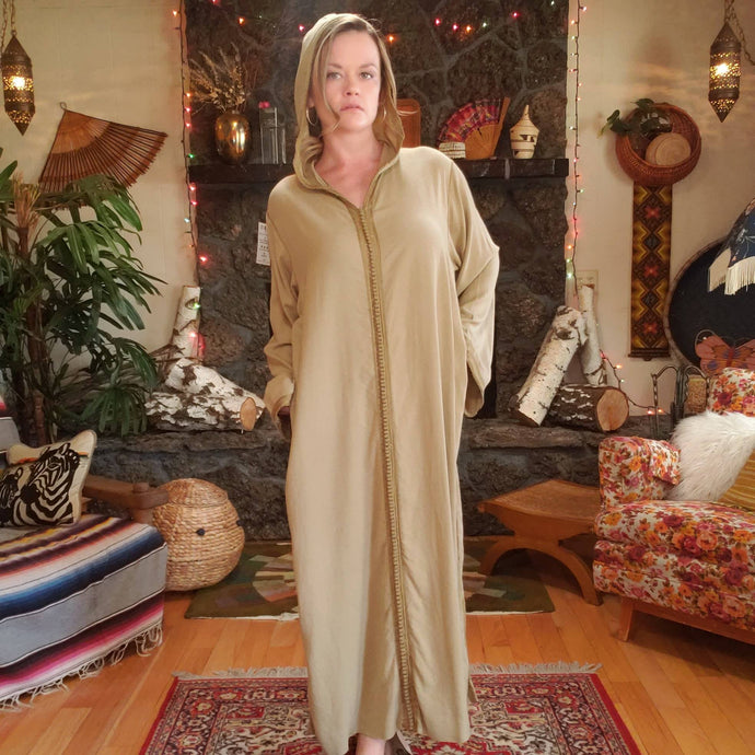 Vintage Hooded Djellaba Robe with Pom Pom Piping - Womens M L XL - Turkish Hooded Tunic - Moroccan - North African Kaftan - Festival Fashion