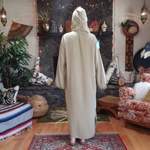 Load image into Gallery viewer, Vintage Hooded Djellaba Robe with Pom Pom Piping - Womens M L XL - Turkish Hooded Tunic - Moroccan - North African Kaftan - Festival Fashion