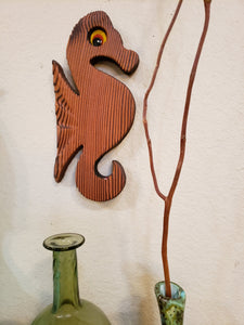 MCM Cryptomeria Wood Seahorse with Felt Eyes - Mid Century Modern Wooden Witco Style - Eames Era Art - Danish Modern Modernist Wall Decor