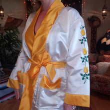 Load image into Gallery viewer, Vintage Embroidered Yellow Rose Kimono Robe - Poly Satin Boxing Robe - Womens XS Small Medium- Green and Yellow - Pockets - Chinese Robe