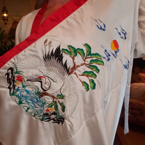 Vintage Embroidered Crane Kimono Robe - Womens Medium Small - Mens Small - Pockets - White Red Poly Satin - Long Embroidered Chinese Robe -
