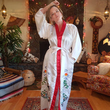 Load image into Gallery viewer, Vintage Embroidered Crane Kimono Robe - Womens Medium Small - Mens Small - Pockets - White Red Poly Satin - Long Embroidered Chinese Robe -