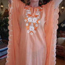Load image into Gallery viewer, 70s Apricot Floral Embroidered Kaftan - Women Medium - Embroidered Tunic Dress - Embroidered Muumuu - Hippie Caftan Dress - Festival Fashion