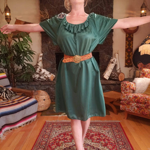 70s Emerald Green Lustre House Dress - Short Muumuu Dress - Striped Shiny Polyester House Dress - 70s House Dress - Swimsuit Coverup