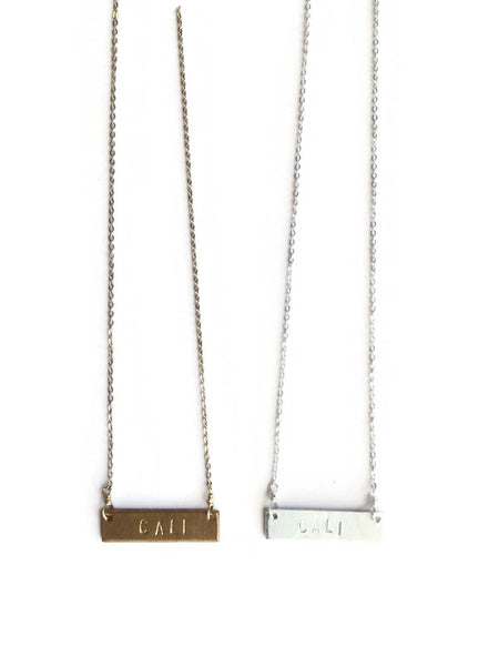 "Live Love Surf-LS-""CALI"" Stamped Necklace"