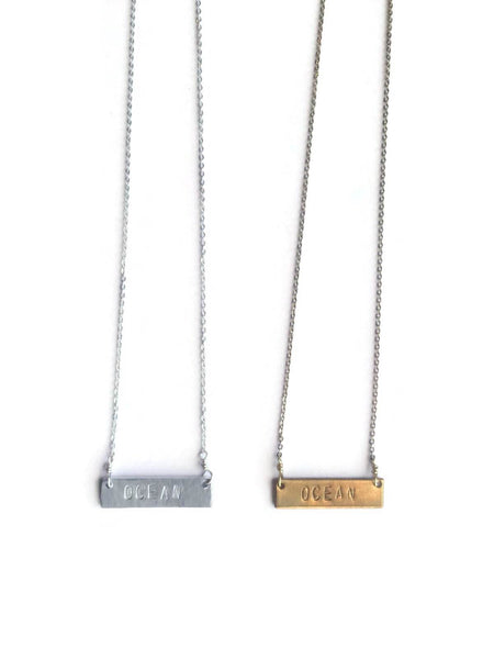 "Live Love Surf-LS-""OCEAN""  Stamped Necklace"
