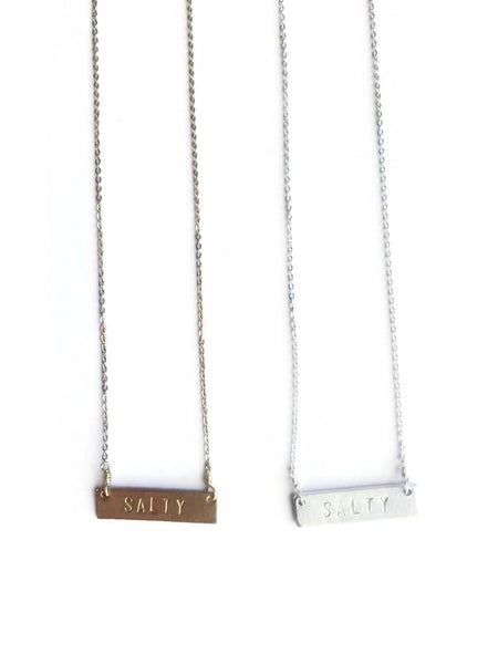 "Live Love Surf-LS-""SALTY"" Stamped Necklace"