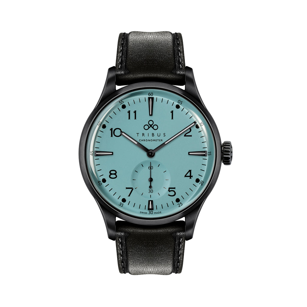 TRIBUS watches TRI-01 Small Second COSC - gunmetal case, matte Teal dial and black leather strap