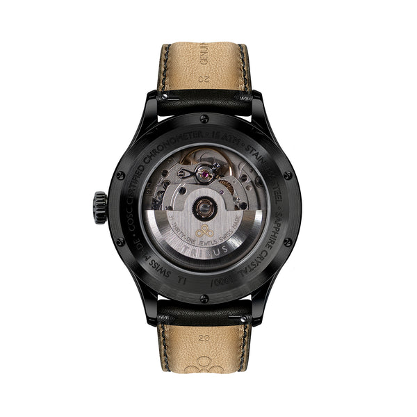 TRIBUS watches TRI-01 Small Second COSC caseback with gunmetal case