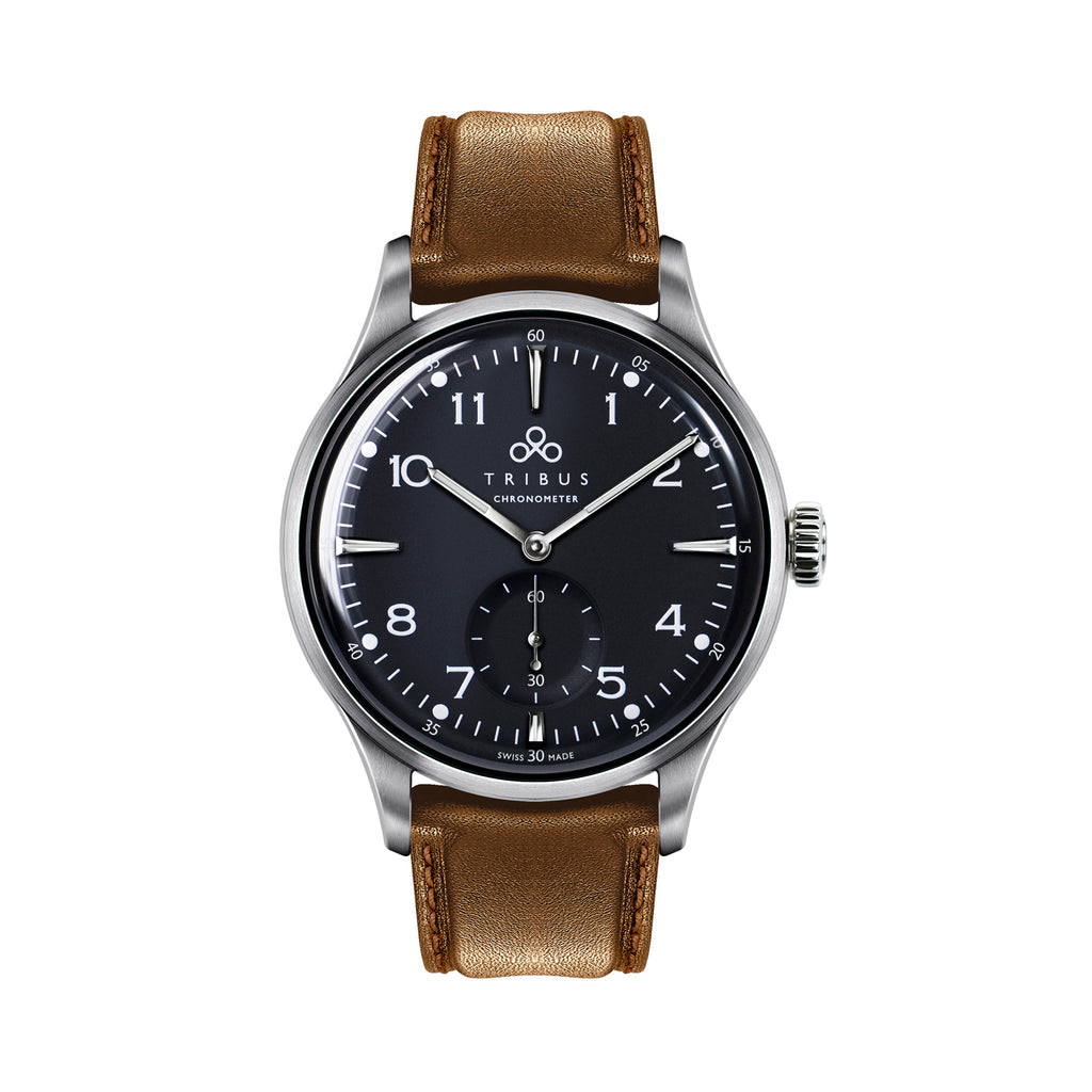 TRIBUS watches TRI-01 Small Second COSC - steel case, matte black dial and camel leather strap