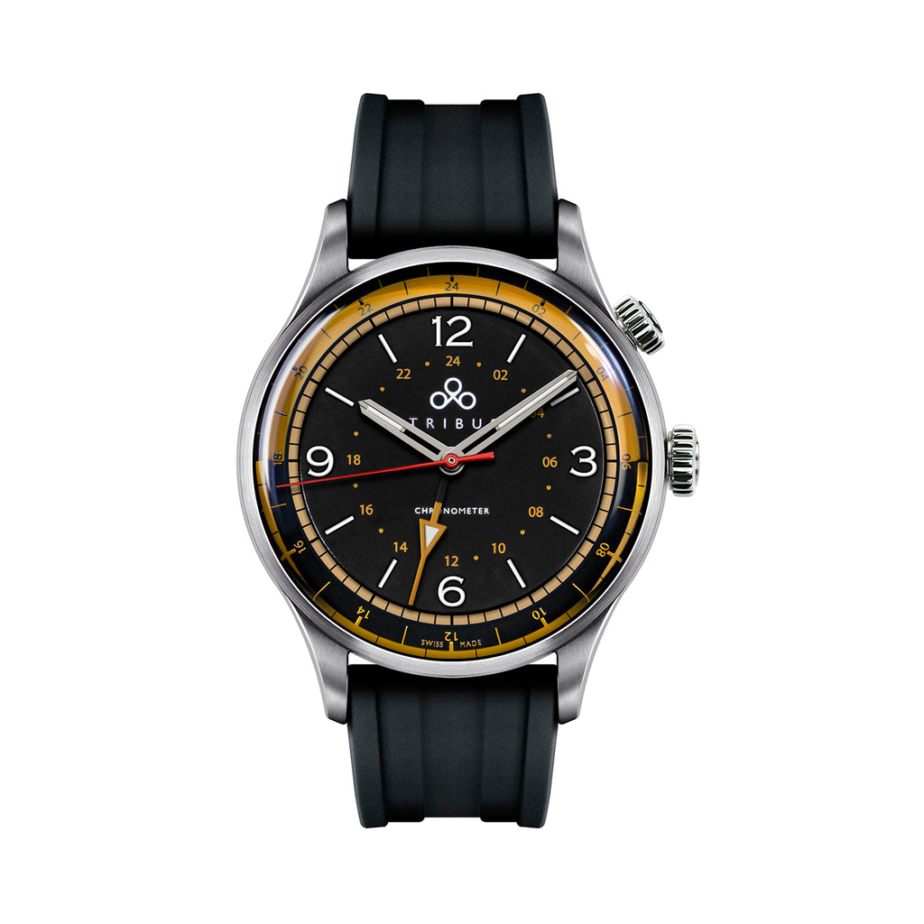 TRI-02 – GMT 3 Timezone COSC – Steel/Black/Rubber