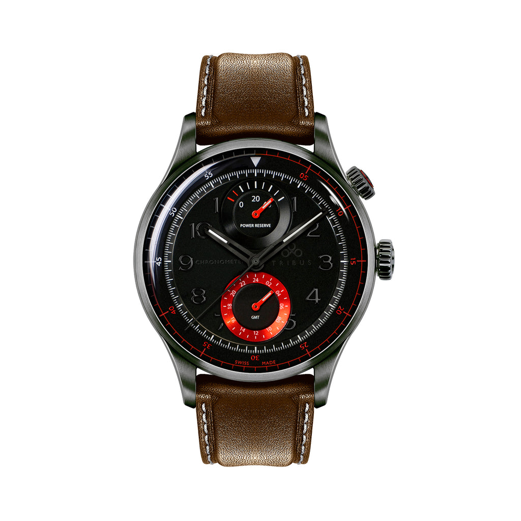 TRI-04 – Power Reserve GMT Sport COSC – Gun/Red/Brown