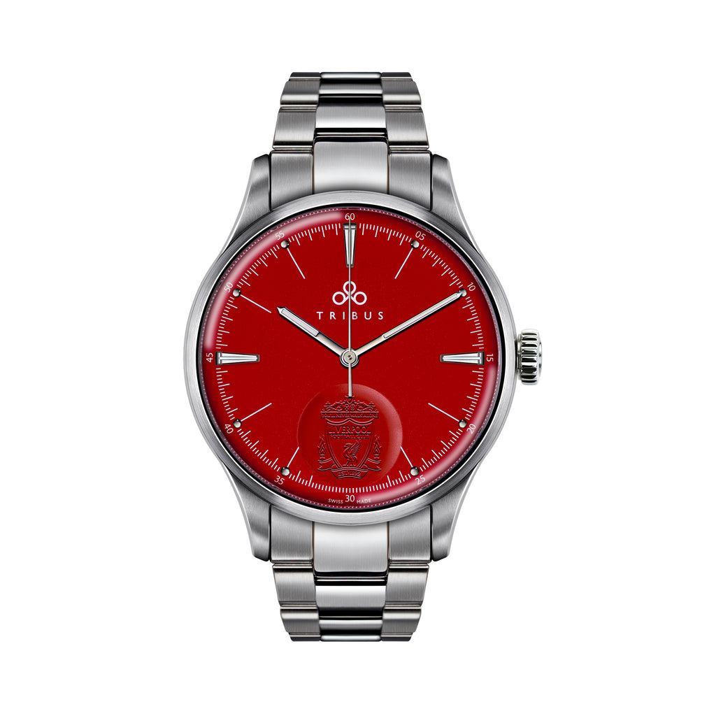 TRI-08 Premier League Champions Special Edition with red dial and steel bracelet