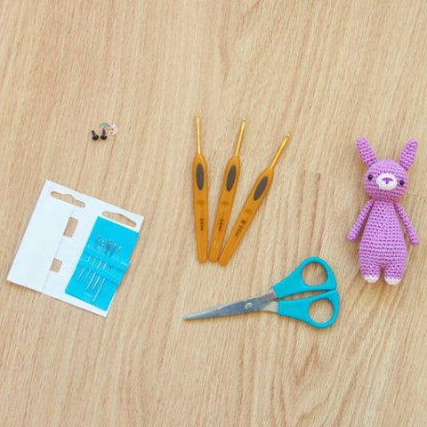 Crochet supplies with mini rabbit