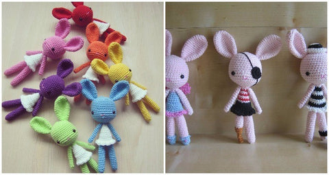How to personalize an amigurumi pattern customized rainbow bunnies