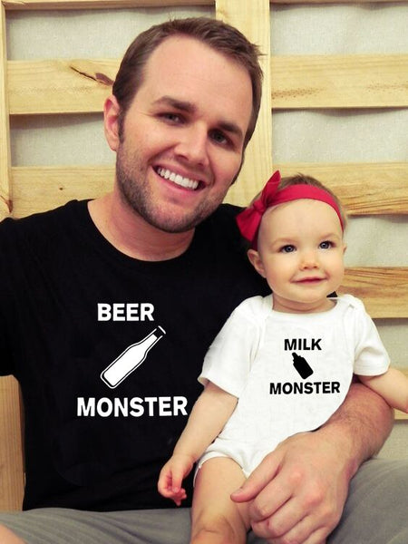 Beer Monster Milk Monster Matching T-Shirt Dad & Baby Casual Short Sleeve O-neck Letter Print Family Clothes Dad Kids Cute Top