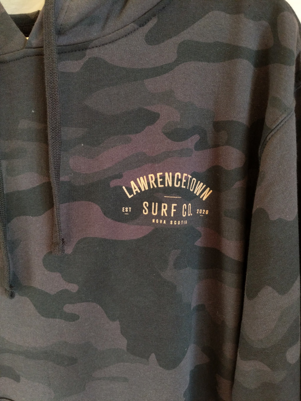 Lawrencetown Surf Co. Midweight Hoodie - Black Camo / Peach