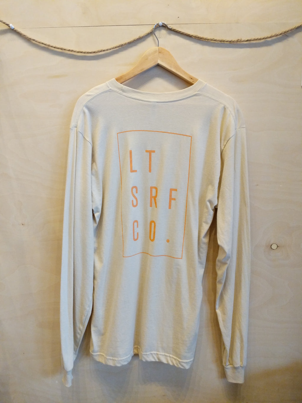 Lawrencetown Surf Co. L/S Tee Rectangle Logo - Creme / Peach