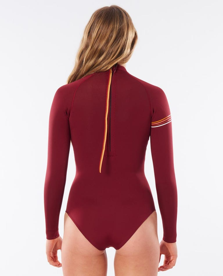 Rip Curl Gbomb Cheeky L/SL Spring Suit - Maroon