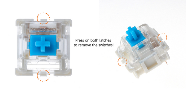 Press on switches' latches to remove them from your keyboard