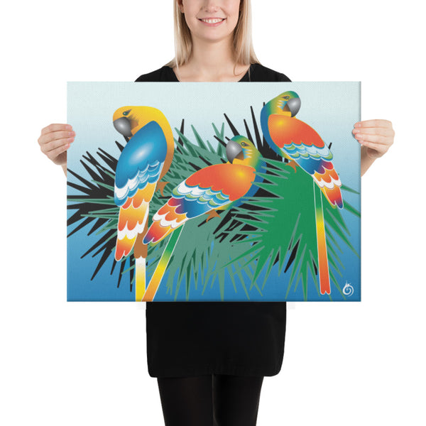 Parrots on a tree. Print on canvas