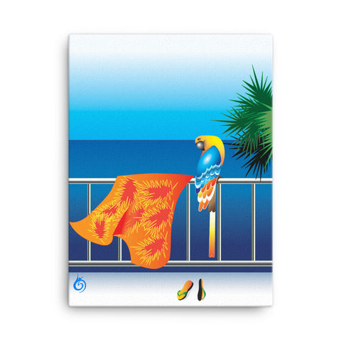 Bird in a balcony. Print on canvas