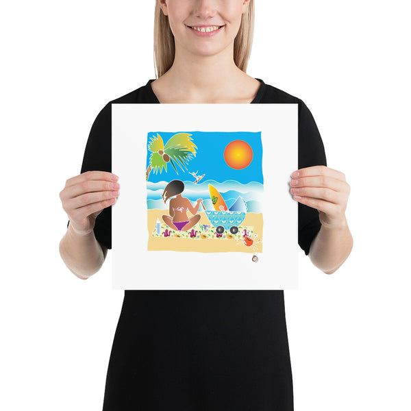 Mum and baby surfer. Poster