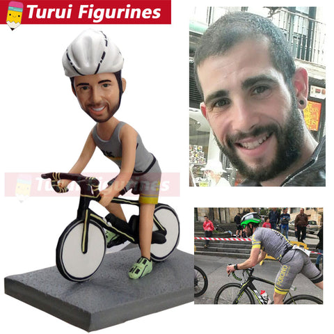personalized bobblehead figure for bicycle rider riding bike sports figurines mini statue home decorations home decor dolls