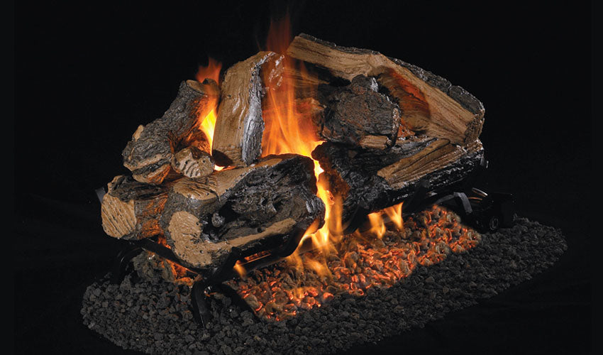 Real Fyre Charred Rugged Split Oak See-Thru Vented Gas Logs - CHRRSO-2