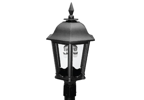 MHP Lamps Post Mount Aluminum Natural Gas Black Lamp Head Dual Inverted Burner