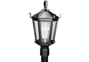 MHP Lamps Post Mount Aluminum Natural Gas Black Lamp Head Dual Inverted Burner - WK5AN