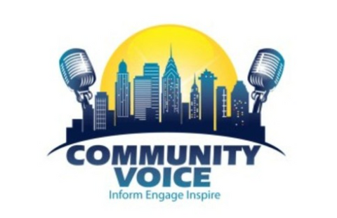 white background, with sun rising over a city skyline, enclosed by podcast microphones on either side. Text reads, community voice: Inform, Engage, Inspire