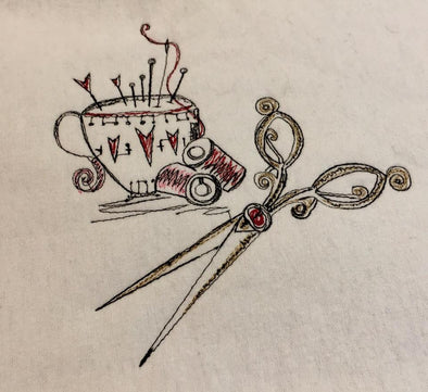 Pin Cushion and Pair of Scissors