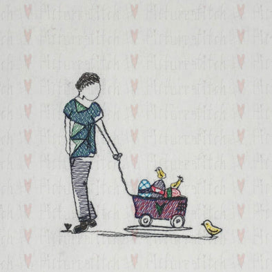 Boy and his Easter Wagon - Machine Embroidery Design