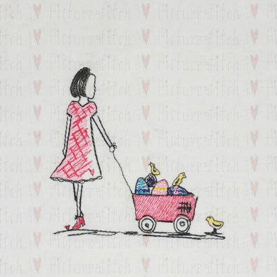 Girl and her Easter Wagon - Machine Embroidery Design