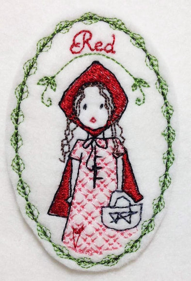 Little Red Riding Hood Brooch - In the Hoop Embroidery Design