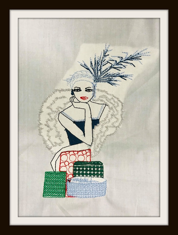 Urban Machine Embroidery- Retro Lady with gift boxes
