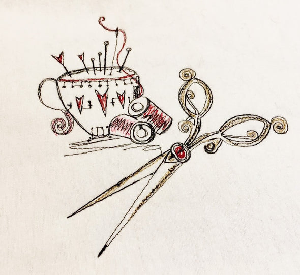 Pin Cushion and a Pair of Scissors