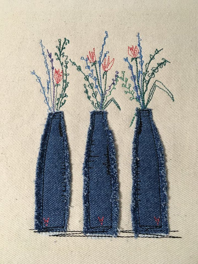 Bottled Flowers - Raw Edge Applique