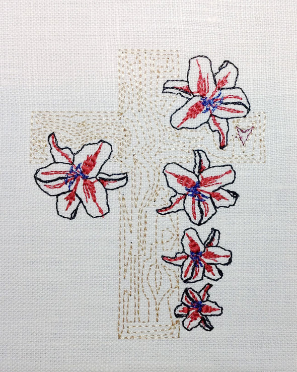 Easter Cross with Lillies