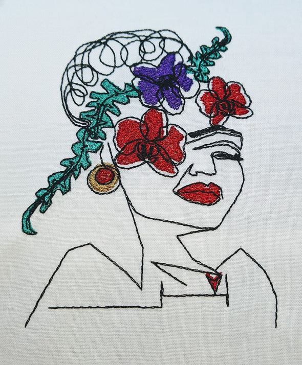 Line Art Embroidery Flowers in your hair Girl