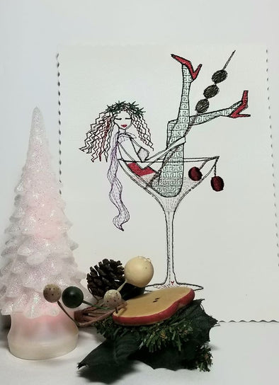 Urban Machine Embroidery- Martini party girl
