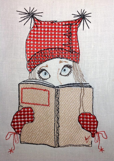 Girl in the Square Hat, Reading a Book