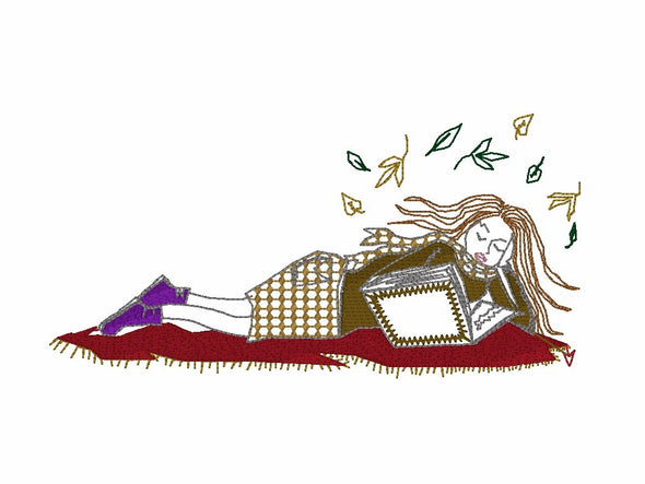Girl Lying down reading a Book