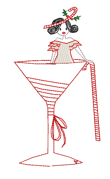 Christmas Miss Candy Cane - Embroidery Design