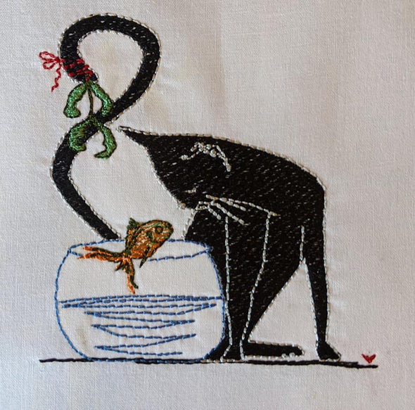 Urban Machine Embroidery- Cat & Fish kissing