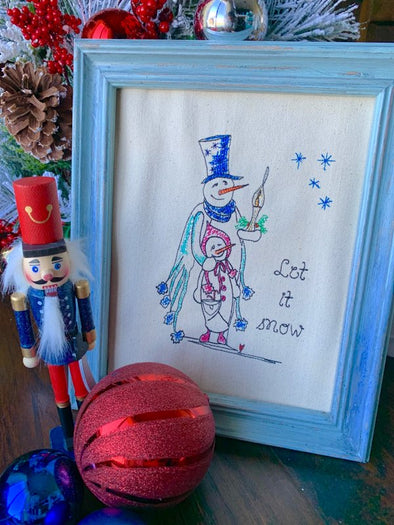 Urban Machine Embroidery Snowman with Candle and Child