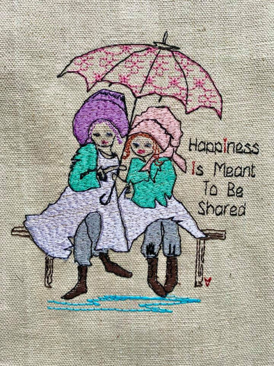 Happiness meant to be shared girls  - Unique Embroidery Design