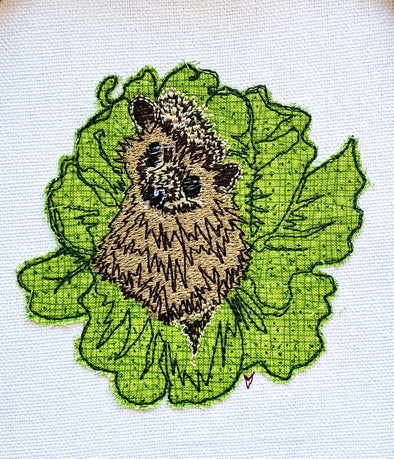 Hedgehog in Cabbage - Raw Edge Applique Embroidery Design